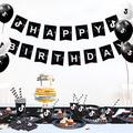 Mofine LLC Birthday Party Decorations, Themed Birthday Party Supplies Set, 142 Pieces w/ Happy Birthday Banner, Plates, Cups, Napkins, Knifes