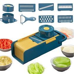 SWU Mandoline Slicer Vegetable Slicer Cutter & Grater 7 In 1 Vegetable Cutter Potato Slicer Vegetable Shredder Garlic Mincer | Wayfair in Blue/Yellow