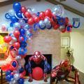 Ballons en forme d'araignée géante 3D pour hommes, Kit en arc en Latex rouge et bleu, guirlande,