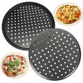 Lattice Routh 2 Pcs Pizza Pan w/ Holes,12 Inch Bakeware Pizza Dish For Oven,Premium Nonstick Carbon Steel Pizza Tray For Home Baking,Kitchen,Cookies