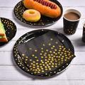 gelaosidun 200 PcsAnd Gold Party Supplies -Disposable Party Dinnerware Set, 50Paper Plates 50 Dessert Plates 50 Cups 50 Napkins For Graduati in Black