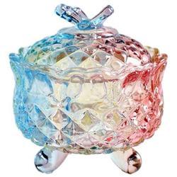 Rosdorf Park Royal Embossed Crystal Candy Box w/ Lid Footed Jewelry Box Candy Jar Cookie Jar Wedding Candy Buffet Jars Kitchen Storage Jar Glass