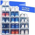 ZZGEN Shoe Organizer Shoe Storage - Shoe Boxes Clear Plastic Stackable, Plastic Shoe Box. Sneaker Shoe Containers, Size 5.5 H x 9.0 W x 13.1 D in