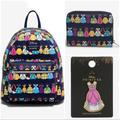 Disney Bags | Loungefly Disney Princess Dress Mini Backpack Set! | Color: Blue/Pink | Size: 3 Pc. Set