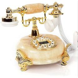 Lattice Routh Imitated Jade Made Classic Vintage Old Telephone Decor Push Button Dial w/ Caller ID, Vintage Antique Home Telephone w/ Caller ID