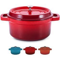hodog2015 4.5 Quart Enamel Cast Iron Dutch Oven Pot w/ Lid Dutch Oven Enameled Cast Iron Durch Oven Enameled Cast Iron Pots & Pans in Red | Wayfair