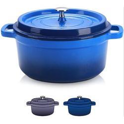 hodog2015 4.5 Quart Enamel Cast Iron Dutch Oven Pot w/ Lid Dutch Oven Enameled Cast Iron Durch Oven Enameled Cast Iron Pots & Pans in Blue   Wayfair