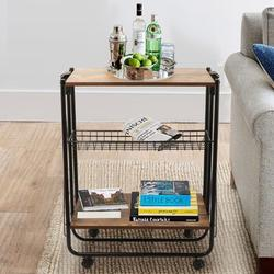 17 Stories Folding Kitchen Bar Serving Cart 3-Tier Rolling Utility Cart w/ Wheels Coffee Cart Foldable Serving Bar Cart Microwave Cart For Kicthen Resturant T Wood