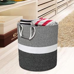 Dovecove 17X17x19 Inches Large Cotton Rope Basket, Storage Basket, Woven Laundry Hamper, Toy Storage Bin, Nursery Storage Basket, Size 19.0 H in