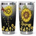 feidigeluo Sunflower Tumbler Watercolor Sunflowers Travel Mug 20 Oz Stainless Steel Travel Mug in Black, Size 6.77 H x 3.5 W in | Wayfair