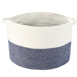 "Dovecove XXXL Large Cotton Rope Basket w/ Handles 22""X14"" Launder Basket, Woven Storage Basket, Large Basket, Blanket Basket, Toy Basket in Blue"