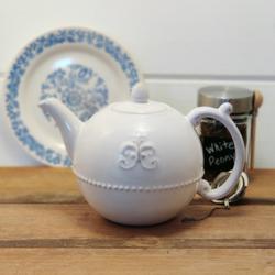 Anthropologie Kitchen   Anthropologie Grace Fleur De Lys Tea Pot   Color: White   Size: Os