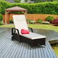 Red Barrel Studio® Outdoor Recliner Cushioned Chaise Lounge W/Adjustable Backrest Wicker/Rattan in Brown, Size 21.0 H x 27.5 W x 79.0 D in | Wayfair