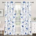 """Red Barrel Studio® Curtains Flower Watercolor Window Curtains Blue Drapes Blue in Green/Blue, Size 52"""" W x 84"""" L   Wayfair"""