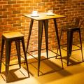 Williston Forge Distressesd Bar Table & Stools Set, Bamboo Tabletop Wood/Metal in Brown, Size 41.0 H x 24.0 W x 24.0 D in | Wayfair
