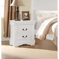 Alcott Hill® Nightstand Wood Nightstand Louis Philippe Nightstand w/ Two Drawers Nightstand in White, Size 24.0 H x 21.0 W x 15.0 D in | Wayfair