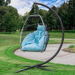 Dakota Fields Outdoor Hanging Egg Chair Swing Lounge Chair(beige), Size 78.0 H x 41.0 W in | Wayfair 84B2A8521A7F408F80ABF57F0605D3F7