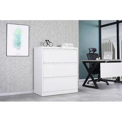Latitude Run® Lockable 3-drawer Filing Cabinet, Metal Filing Cabinet For Home & Office Metal/Steel in White, Size 35.45 W in | Wayfair