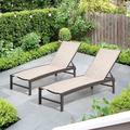 Arlmont & Co. Patio Chaise Lounge Chairs w/ Covers, Aluminum Adjustable Outdoor Five-position Recliner & Waterproof Covers All Weather For Beach