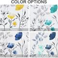 Red Barrel Studio® Curtains Flower Watercolor Window Curtains Blue Drapes Blue in Green/Blue, Size 63.0 H in   Wayfair