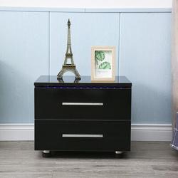 Ivy Bronx Bowdyn 2 - Drawer Nightstand Wood in Black, Size 19.6 H x 21.6 W x 14.5 D in | Wayfair 20FBD8FA080C48658A284B7343163594