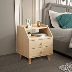 George Oliver Nightstand Bedside Table, Drawers w/ Handle Cabinet Shelf Wooden Legs Night Stand Bedroom End Table Yellow Wood in Brown/Yellow