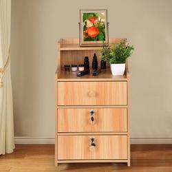 Ebern Designs Nightstand Bedside Table, Lockable Drawers Shelf Storage Cabinet Night Stand Bedroom End Table Walnut Color Wood in Brown | Wayfair