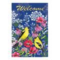 Evergreen Garden Flags - Navy & Pink 'Welcome' Watercolor Wildflowers Outdoor Flag