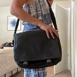 Coach Bags | Coach Leather Messenger Bag In Signature Canvas | Color: Black | Size: 12 X 16
