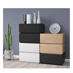 Latitude Run® Modern LED Bedside End Table Nightstand 2 Drawers Modern High Gloss Nightstand Wood in Black, Size 18.9 W x 13.78 D in   Wayfair