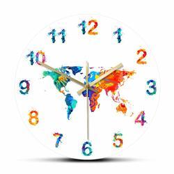 Montre murale suspendue en aquarelle, carte du monde, horloge murale silencieuse, sol plat,