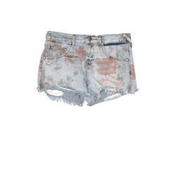 Free People Denim Shorts: Blue Print Bottoms - Size 25