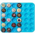 feidigeluo Premium Silicone Mini Muffin & Cupcake Baking Pan Large Non Stick 24 Cup Cookies Molds Silicone in Blue | Wayfair Y4N0W107B74VC8F-02