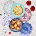 Battle Cow 6 Pack Porcelain Dinner Plates - 10.5 Inch Diameter - Pizza Pasta Serving Plates Dessert Dishes - Microwave, Oven, & Dishwasher Safe