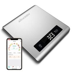 Airmsen Smart Food Nutrition Scale, Digital Kitchen Scale, Stainless Steel Stainless Steel/Plastic in Gray, Size 8.0 H x 7.2 W in | Wayfair