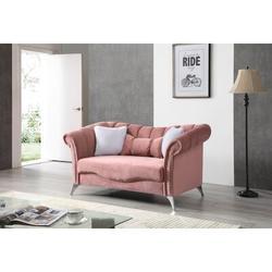 "Glory Furniture Madrid 65"" Velvet Rolled Arm Loveseat Velvet in Pink, Size 65.0 W x 35.0 D in   Wayfair G0543A-L"