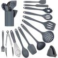 zhong_hua 15_Silicone Cooking Utensils Kitchen Utensils Set, 15Pcs Silicone Cooking Utensils Set, Silicone Utensils For Cooking in Gray   Wayfair