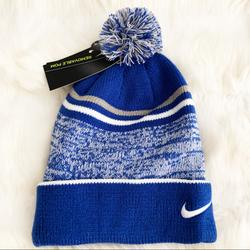 Nike Accessories   Nike Beanie Hat Cozy Winter Hat Removable Pom   Color: Blue/White   Size: Os
