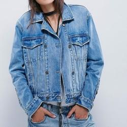 Free People Jackets & Coats | Free People Double Breasted Denim Trucker Jacket | Color: Blue | Size: M