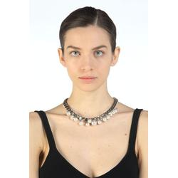 Faux Pearl-embellished Chain Necklace - Metallic - N°21 Necklaces