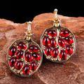 Boucles d'oreilles Vintage couleur or rouge grenat pour femmes, CZ pierre ronde perlée incrustation