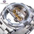 Forsining – montre mécanique pour hommes, Design Transparent, automatique, argent, carré, or,