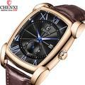 CHENXI – montre en cuir véritable pour hommes, Vintage, rétro, chiffres romains, Antique, carré,