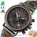 BOBO oiseau luxe bois acier inoxydable hommes montre élégant en bois montres chronographe Quartz