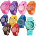 Montre-bracelet à Quartz pour fille et garçon, bracelet en Silicone, couleur bonbon, cadran rond,