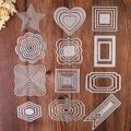 Matrices de découpe en métal, cadre carré étoile cœur rectangle cercle, pour bricolage, carte