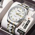 Montre étanche à Quartz avec cadran en diamant pour hommes, bracelet en acier, calendrier lumineux,