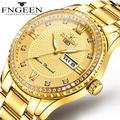 Montre à quartz de luxe pour hommes, avec calendrier en acier, étanche à 30 mètres, dorée, nouvelle