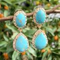 KOMi – boucles d'oreilles bohème en pierre naturelle, cristaux Turquoises, gemme goutte d'eau,