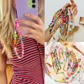 Ins – chaîne de téléphone en perles acryliques colorées, fleurs, yeux en cristal, lanière de
